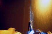 Wassertropfen im Fahrradscheinwerfer